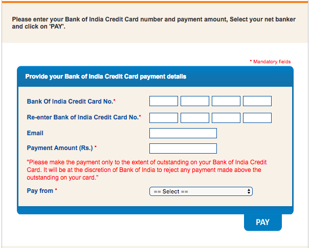 Bank of India Credit Card Payment