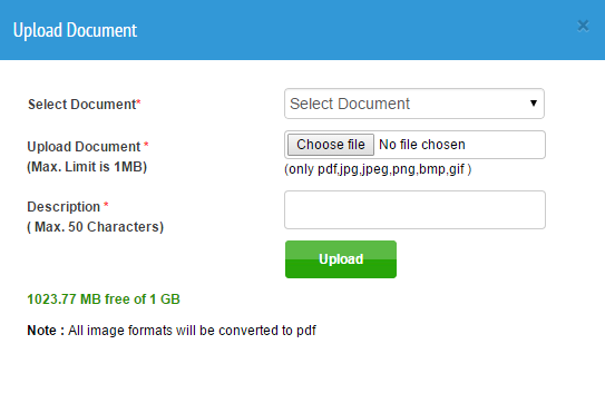 How can I upload a document in my locker?