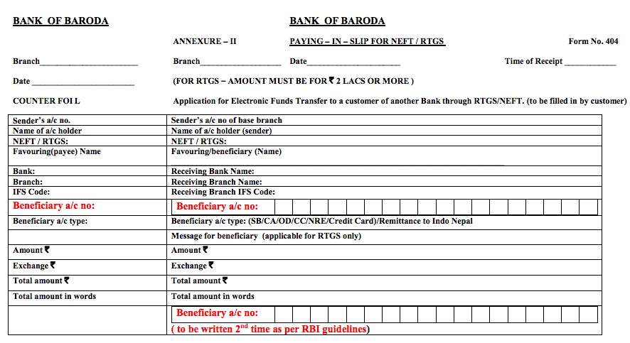 Bank of Baroda NEFT Form, BOB RTGS