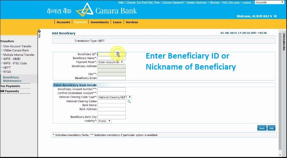 Canara Bank NEFT