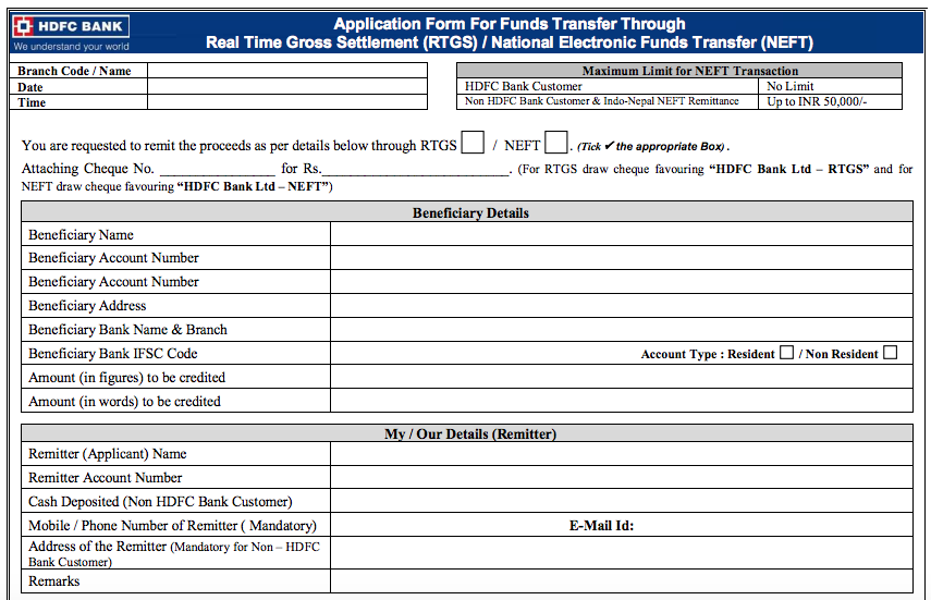 HDFC Bank NEFT Form, HDFC Bank RTGS Form