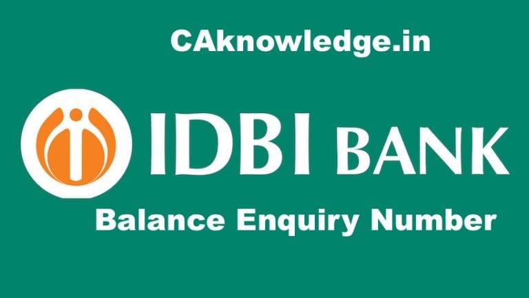 IDBI Bank Balance Enquiry Number, IDBI Bank Toll Free Number