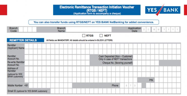 Yes Bank NEFT Form, Yes Bank RTGS
