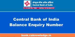 Central Bank of India Balance Enquiry Number