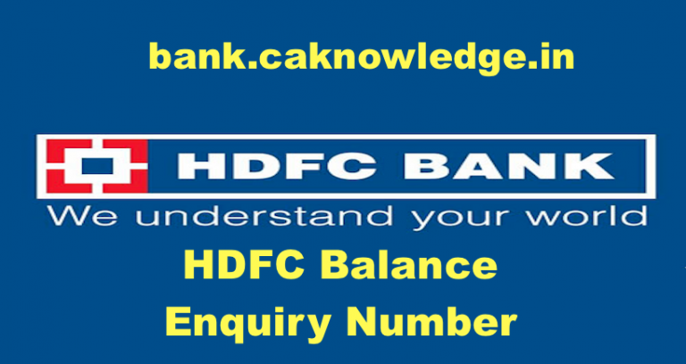 HDFC Balance Enquiry Number