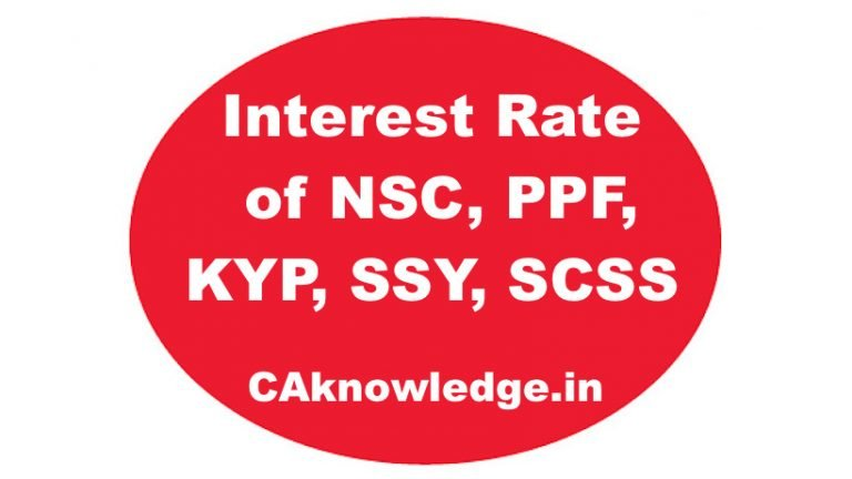 Interest Rate of NSC, PPF, KYP, SSY, SCSS