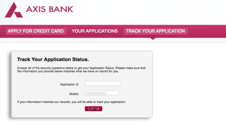 Axis Bank Credit Card Status