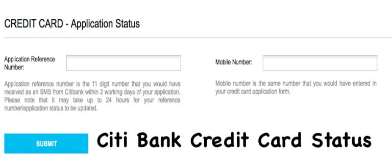 Citi Bank Credit Card Status