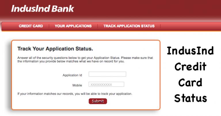 IndusInd Credit Card Status
