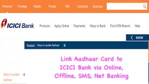 Link Aadhaar Card to ICICI Bank via Online, Offline, SMS, Net Banking