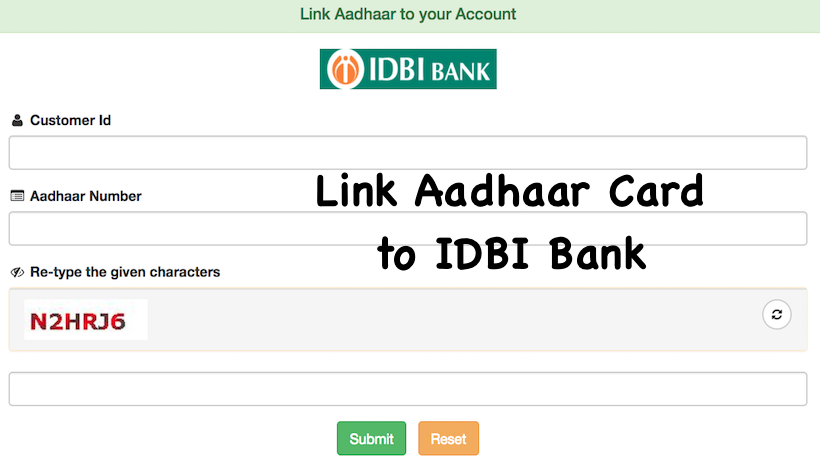 Link Aadhaar Card to IDBI Bank