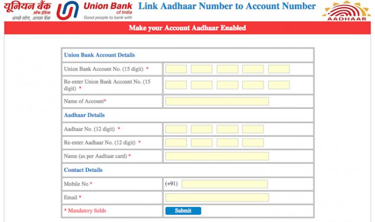 Link Aadhaar Card to Union Bank