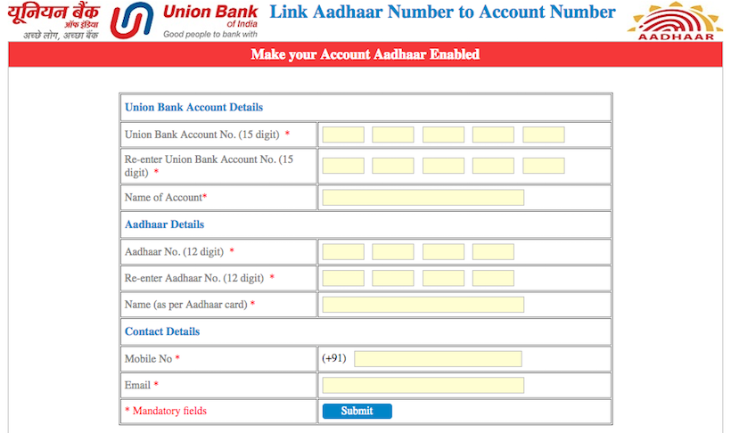 Link Aadhaar Card to Union Bank