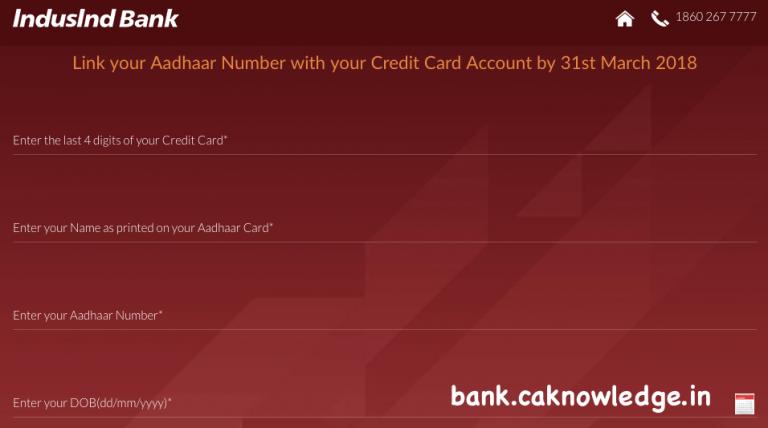 Link IndusInd Credit Card to Aadhaar Card