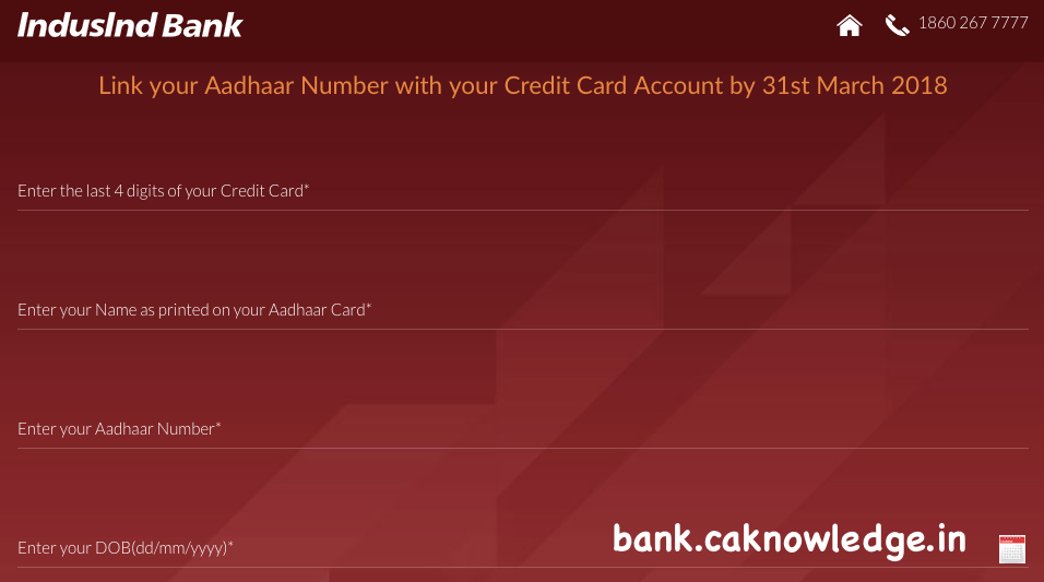 Link IndusInd Credit Card to Aadhaar Card