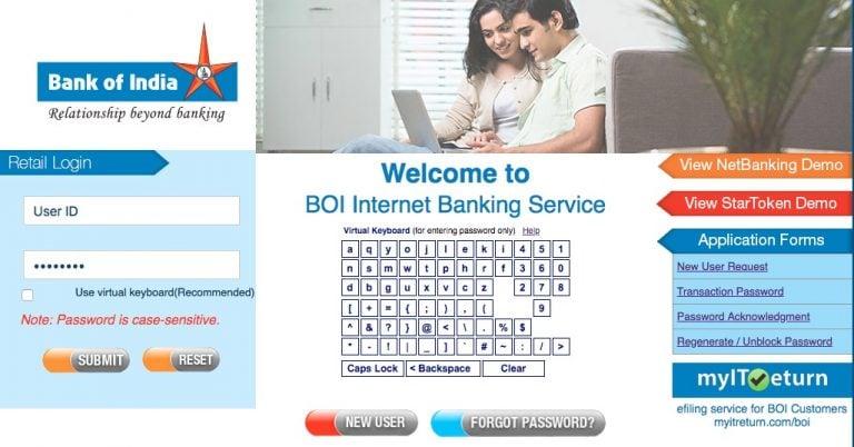 BOI Bank Net Banking
