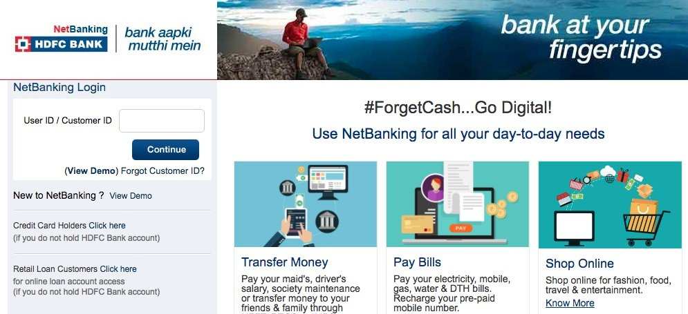 hdfc netbanking registration without debit card