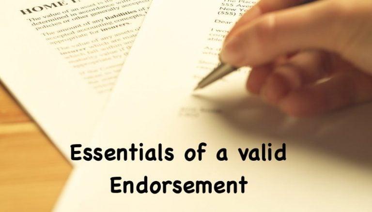 Essentials of a valid Endorsement