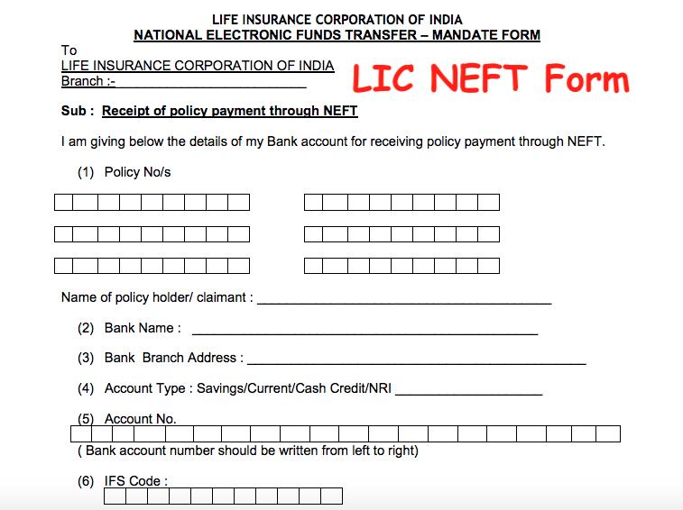 LIC NEFT Form