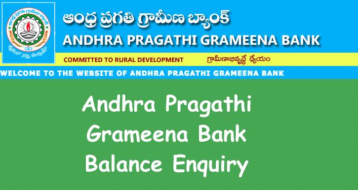Andhra Pragathi Grameena Bank Balance Enquiry