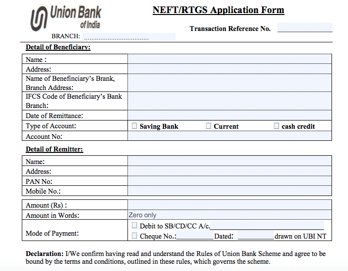 UBI NEFT RTGS Form, Union Bank of India NEFT