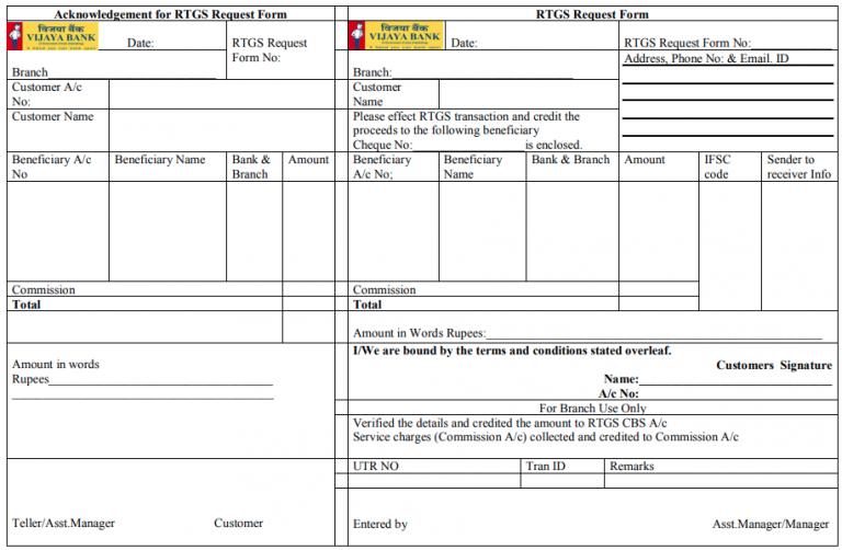 Vijay Bank RTGS Form