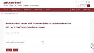 Link Aadhaar to IndusInd Credit Card